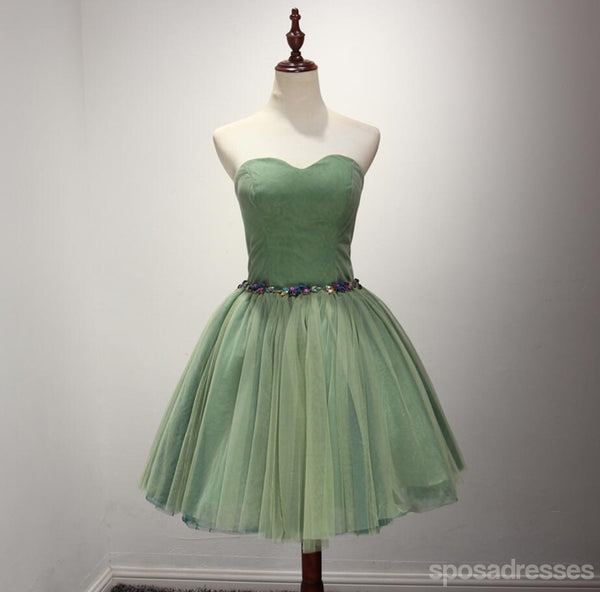 Simple Green Beaded Strapless Homecoming Prom Dresses, Affordable Short Party Corset Back Prom Dresses, Perfect Homecoming Dresses, CM225