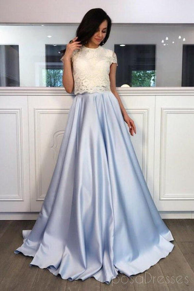 Two Pieces High Neck Short Sleeve Blue Skirt A line Long Evening Prom Dresses, 17465