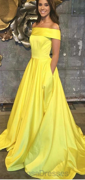 Off Shoulder Yellow Cheap Long Evening Prom Dresses, Evening Party Prom Dresses, 12157
