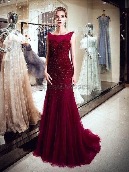 Scoop Dark Red Beaded Mermaid Evening Prom Dresses, Evening Party Prom Dresses, 12062