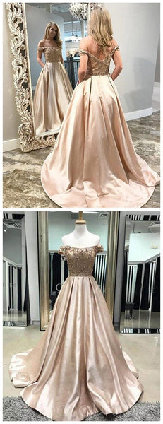 Off Shoulder Beaded A line Cheap Long Evening Prom Dresses, Cheap Sweet 16 Dresses, 18369