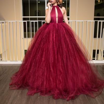 Sexy Backless Red Ball Gown Long Evening Prom Dresses, 17561