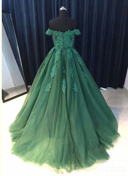 Off Shoulder Emerald Green Lace A line Long Custom Evening Prom Dresses, 17428