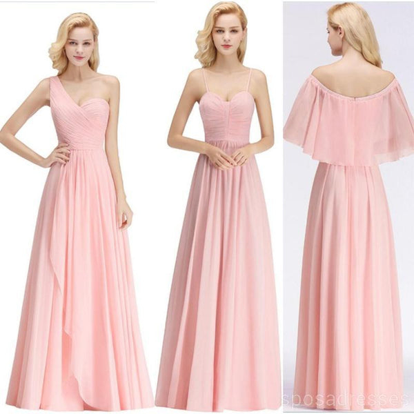 Chiffon Blush Pink Mismatched Simple Cheap Bridesmaid Dresses Online, WG521