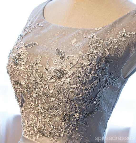 Gray Lace Sexy See Through Homecoming Prom Dresses, Affordable Short Party Prom Sweet 16 Dresses, Perfect Homecoming Cocktail Dresses, CM349