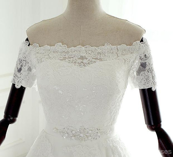 Off Shoulder Short Sleeve Lace Beaded A line Wedding Bridal Dresses, Custom Made Wedding Dresses, Affordable Wedding Bridal Gowns, WD256