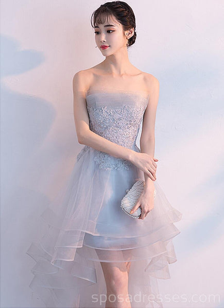 High Low Gray Strapless Cheap Homecoming Dresses Online, Cheap Short Prom Dresses, CM755