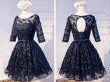 Long Sleeve Navy Scoop Neckline Homecoming Prom Dresses, Affordable Short Party Prom Dresses, Perfect Homecoming Dresses, CM292