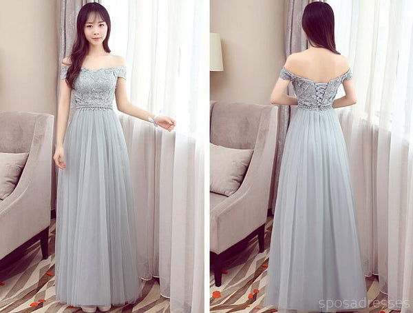 Mismatched Affordable Gray Lace Soft Tulle Long Bridesmaid Dresses, BD015