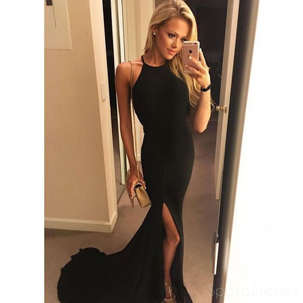 Sexy Backless Side Slit Mermaid Halter Black Floor Length Custom Long Evening Prom Dresses, 17369