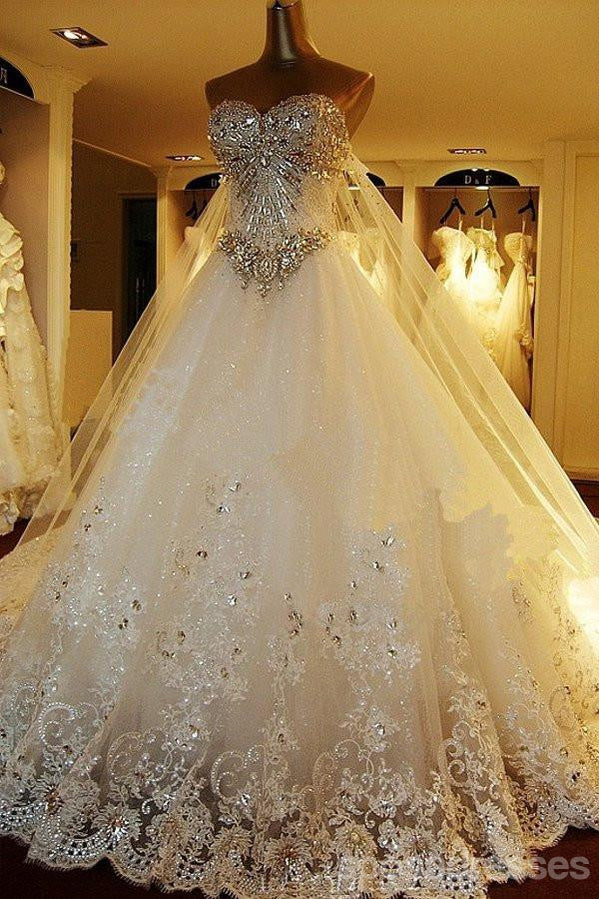 Sparkly Rhinestone Lace A line Wedding Dresses, 2017 Luxurious Long ...