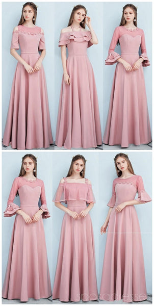 Dusty Pink Floor Length Mismatched Simple Cheap Bridesmaid Dresses Online, WG517