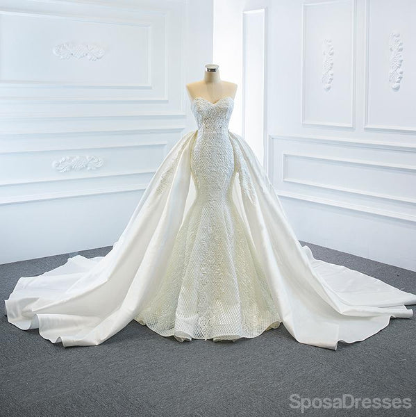 Detachable Skirt Sweetheart Lace Mermaid Wedding Dresses, Cheap Wedding Gown, WD715