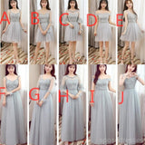 Mismatched Affordable Gray Lace Soft Tulle Long Bridesmaid Dresses, Cheap Custom Long Bridesmaid Dresses, Affordable Bridesmaid Gowns, BD015