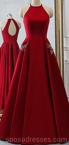 Sexy Open Back Bright Red Long Evening Prom Dresses, Cheap Custom Party Prom Dresses, 18595