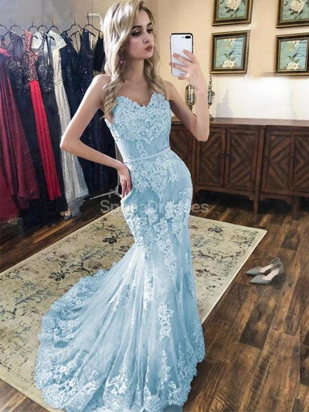 Light Blue Lace Beaded Mermaid Long Evening Prom Dresses, Evening Party Prom Dresses, 12308
