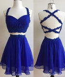 Chiffon Short Cheap Royal Blue Two Piece Homecoming Dresses 2018, CM461