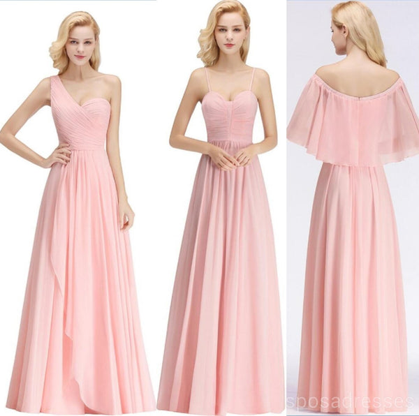 2d3112f3a21 Chiffon Blush Pink Mismatched Simple Cheap Bridesmaid Dresses Online ...