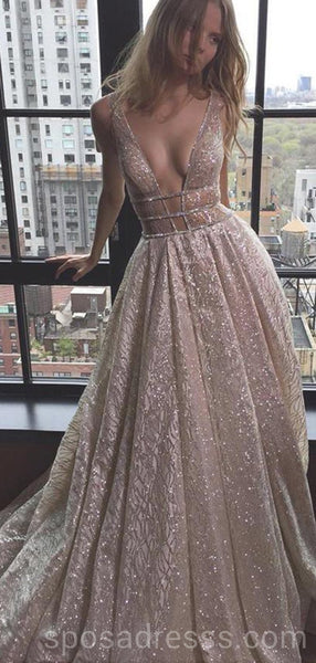 Sexy Backless Deep V Neck Sparkly A-line Long Evening Prom Dresses, Cheap Custom Sweet 16 Dresses, 18563