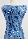 Scoop Mermaid Blue Sparkly Sequin Homecoming Dresses Online, Cheap Short Prom Dresses, CM756