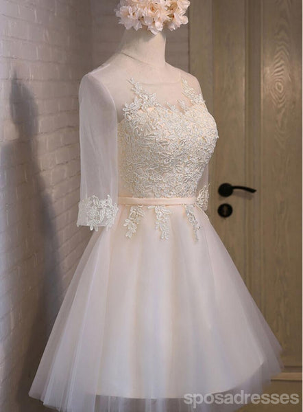 Long Sleeve Lace High Neckline Homecoming Prom Dresses, Affordable Short Party Prom Dresses, Perfect Homecoming Dresses, CM293
