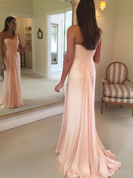 2018 Blush Pink One Shoulder Mermaid Chiffon Custom Long Evening Prom Dresses, 17365