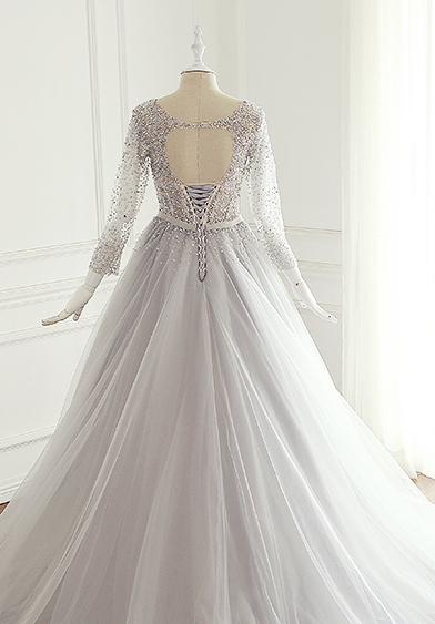 Sexy Open Back Long Sleeve Heavily Beaded A line Wedding Bridal Dresses, Custom Made Wedding Dresses, Affordable Wedding Bridal Gowns, WD257