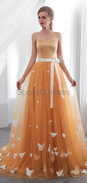 Strapless Orange Tulle ButterFly Evening Prom Dresses, Evening Party Prom Dresses, 12024
