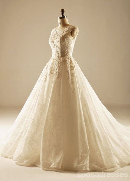 Classic Round Neckline Lace Long Tail Wedding Dresses, Custom Made Wedding Dresses, Cheap Wedding Bridal Gowns, WD220