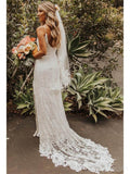 Spaghetti Straps Lace Mermaid Wedding Dresses Online, Cheap Beach Bridal Dresses, WD477