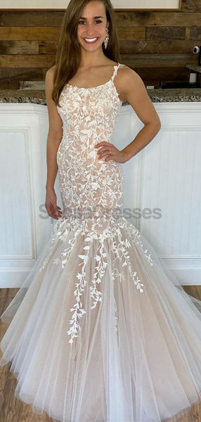 Lace Mermaid Straps Sexy Long Evening Prom Dresses, Evening Party Prom Dresses, 12247