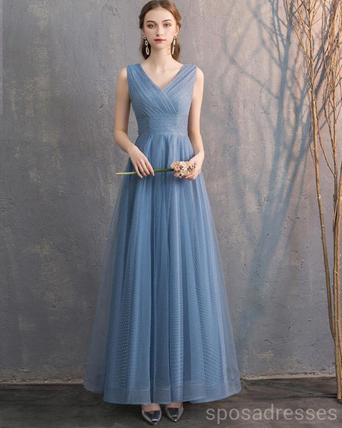 Dusty Blue Floor Length Mismatched Cheap Bridesmaid Dresses Online, WG533