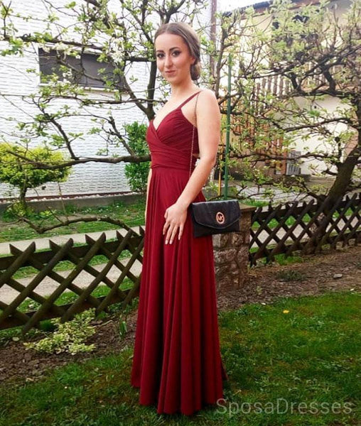 Simple Straps Open Back Long Evening Prom Dresses, Cheap Custom Sweet 16 Dresses, 18486