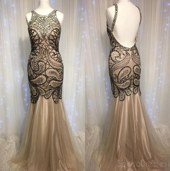 Sexy Backless Delicate Beading Mermaid Long Evening Prom Dresses, Popular Cheap Long 2018 Party Prom Dresses, 17294