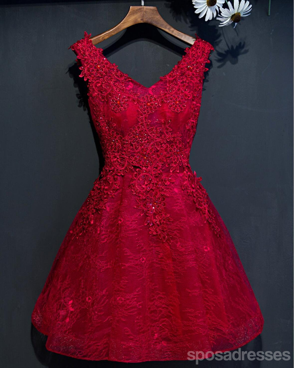 Two Straps Red Lace Heavily Beaded Homecoming Prom Dresses, Affordable Short Party Prom Dresses, Perfect Homecoming Dresses, CM265