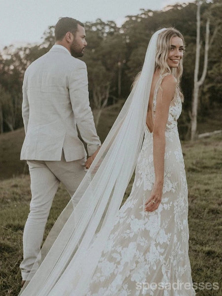 Sexy V Neck Lace Mermaid Wedding Dresses Online, Cheap Bridal Dresses, WD630