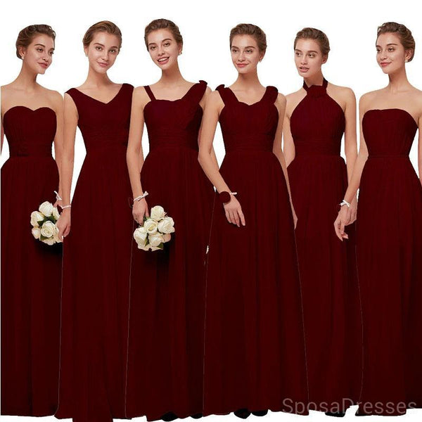 Mismatched Chiffon Dark Red Cheap Long Cheap Bridesmaid Dresses Online, WG630