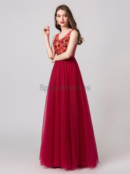 See Through Red Applique Evening Prom Dresses, Evening Party Prom Dresses, 12102