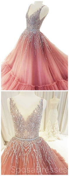 V Neck Sparkly Tulle A-line Peach Long Evening Prom Dresses, Cheap Custom Sweet 16 Dresses, 18506