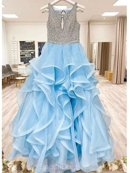 Scoop Ruffles Heavily Beaded A-line Long Evening Prom Dresses, Evening Party Prom Dresses, 12342