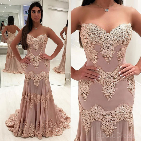 2018 Sweetheart Neckline Chiffon Lace Mermaid Custom Long Evening Prom Dresses, 17366
