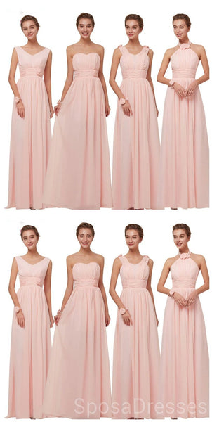 Mismatched Blush Pink Chiffon Cheap Bridesmaid Dresses Online, WG629