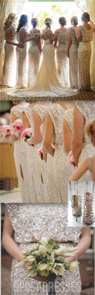 Popular Sparkly Bling Sequin Long Formal Charming Bridesmaid Dresses, WG29