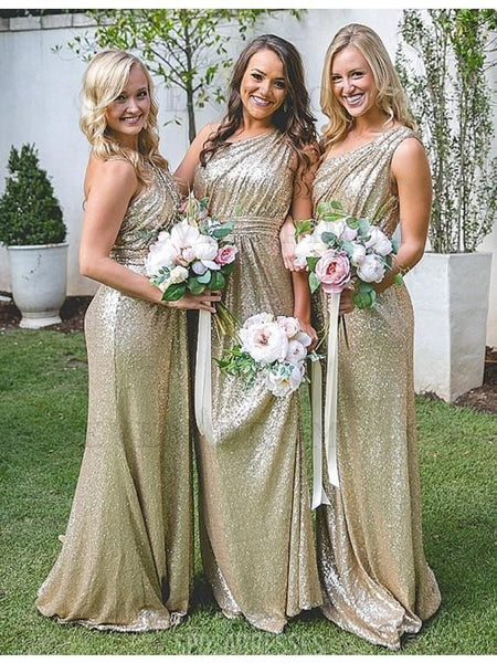Sparkly One Shoulder Sequin Long Cheap Bridesmaid Dresses Online, WG318