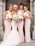 Halter Blush Pink Mermaid Cheap Long Bridesmaid Dresses Online, WG347
