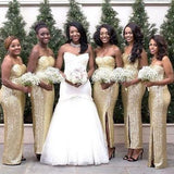 Sweetheart Side Slit Sequin Long Cheap Bridesmaid Dresses Online, WG319