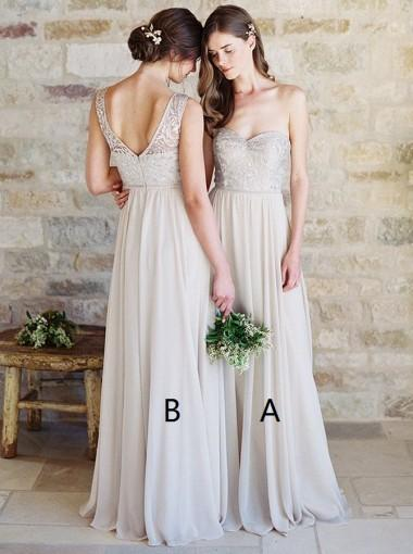 Mismatched Champagne Custom Lace Cheap Long Bridesmaid Dresses Online, WG349