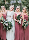 Dusty Red Spaghetti Straps Custom Chiffon Cheap Bridesmaid Dresses Online, WG350