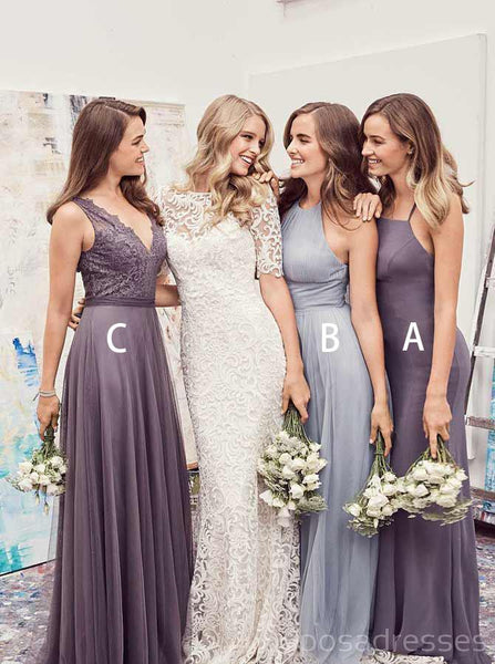 Misatched Chiffon Custom Made Long Cheap Bridesmaid Dresses Online, WG320