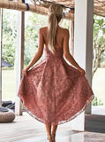Dusty Pink High Low Short Cheap Homecoming Dresses Online, CM611